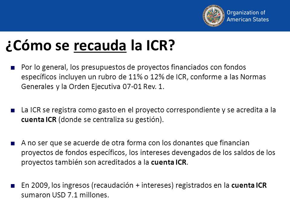 ¿Cómo se recauda la ICR? Por lo general, los presupuestos de proyectos financiados con fondos específicos incluyen un rubro de 11% o 12% de ICR, confo