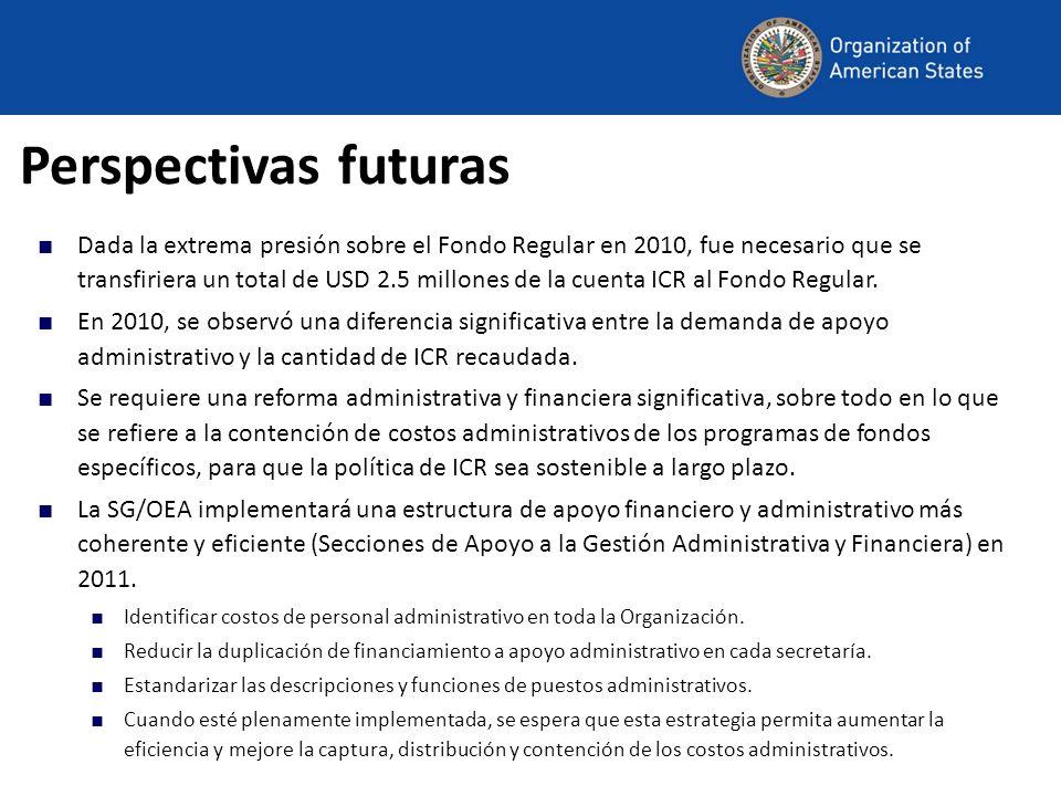 Perspectivas futuras Dada la extrema presión sobre el Fondo Regular en 2010, fue necesario que se transfiriera un total de USD 2.5 millones de la cuenta ICR al Fondo Regular.