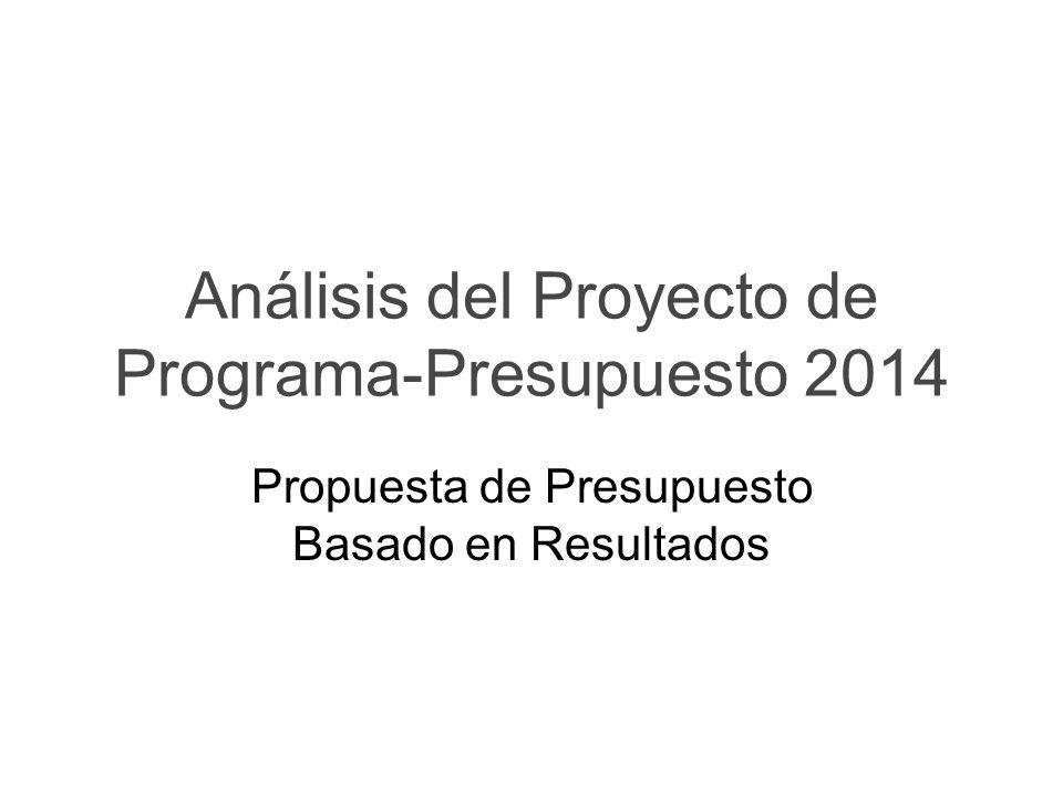 Análisis del Proyecto de Programa-Presupuesto 2014 Propuesta de Presupuesto Basado en Resultados
