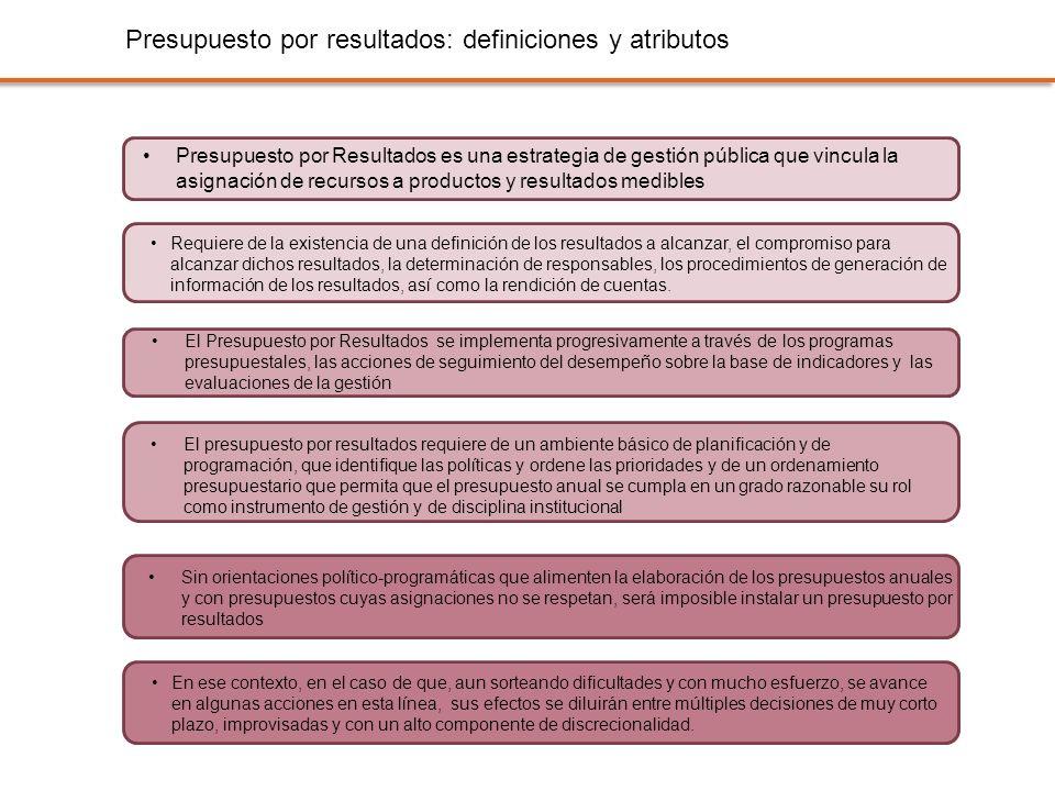 Presupuesto por resultados: definiciones y atributos Presupuesto por Resultados es una estrategia de gestión pública que vincula la asignación de recu