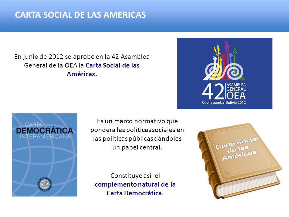 En junio de 2012 se aprobó en la 42 Asamblea General de la OEA la Carta Social de las Américas. Es un marco normativo que pondera las políticas social