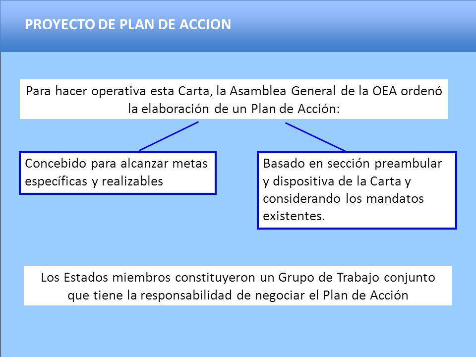 Para hacer operativa esta Carta, la Asamblea General de la OEA ordenó la elaboración de un Plan de Acción: Basado en sección preambular y dispositiva