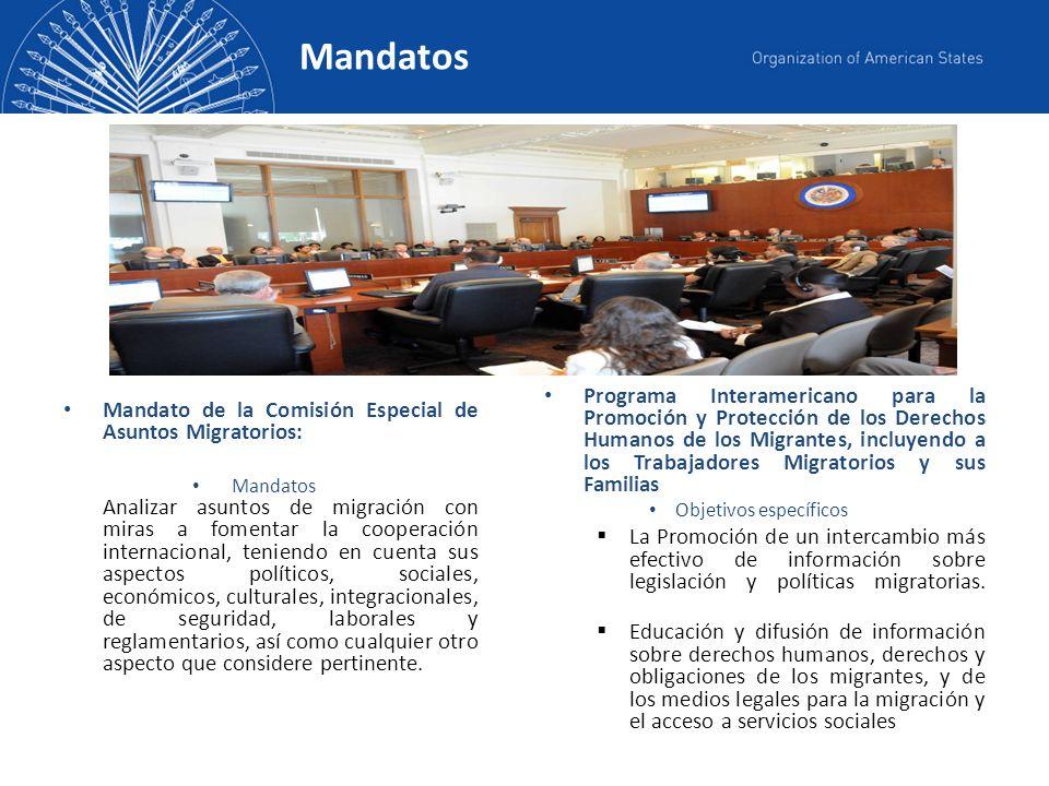 Se propone la distribución del boletín mensualmente vía e-mail y estará dirigida a: - Representantes permanentes de los Estados miembros de la OEA en la Comisión Especial de Asuntos Migratorios.
