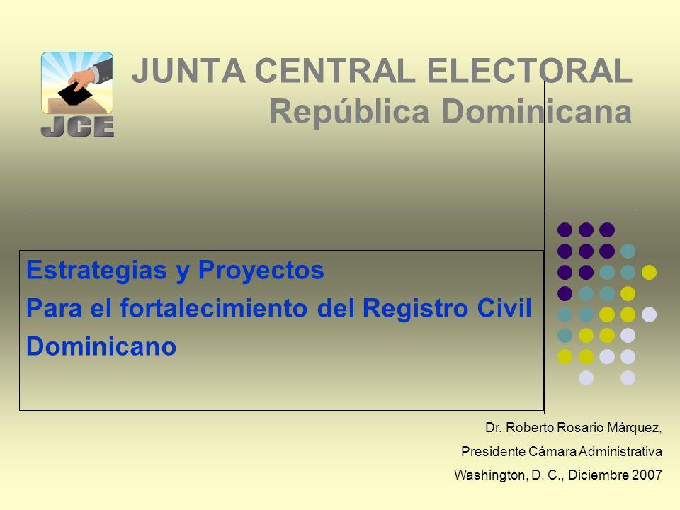 JUNTA CENTRAL ELECTORAL República Dominicana Estrategias y Proyectos Para el fortalecimiento del Registro Civil Dominicano Dr.