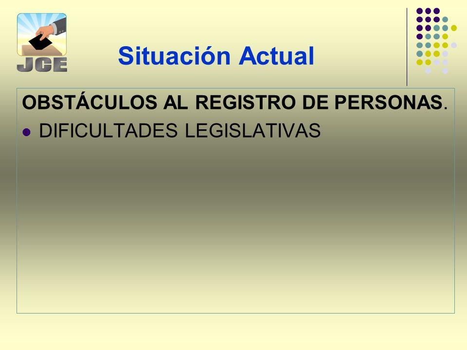 Situación Actual OBSTÁCULOS AL REGISTRO DE PERSONAS.