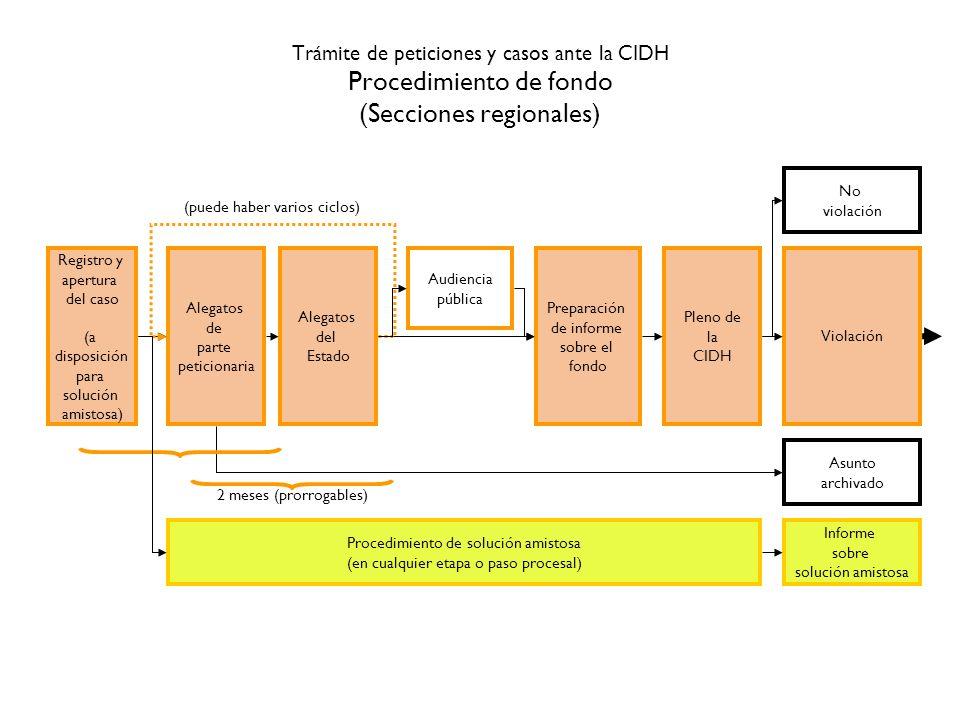 Trámite de peticiones y casos ante la CIDH Procedimiento de fondo (Secciones regionales) Registro y apertura del caso (a disposición para solución ami
