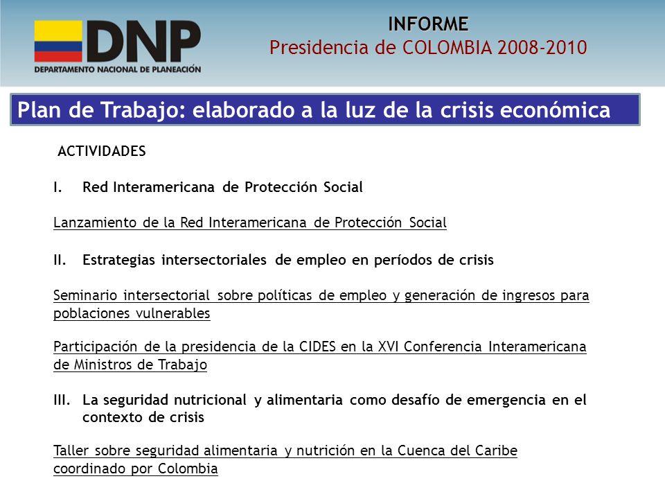 INFORME Presidencia de COLOMBIA 2008-2010 ACTIVIDADES I.Red Interamericana de Protección Social Lanzamiento de la Red Interamericana de Protección Social II.
