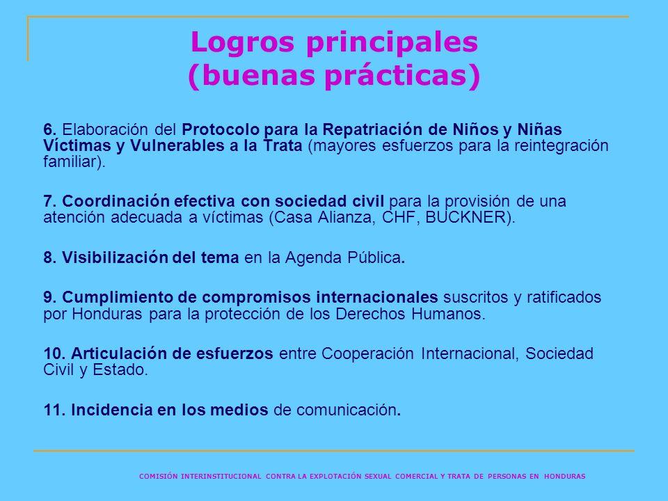Logros principales (buenas prácticas) 6. Elaboración del Protocolo para la Repatriación de Niños y Niñas Víctimas y Vulnerables a la Trata (mayores es