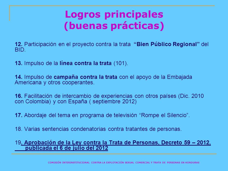 Logros principales (buenas prácticas) 12. Participación en el proyecto contra la trata Bien Público Regional del BID. 13. Impulso de la línea contra l
