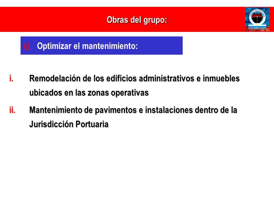 i.Remodelación de los edificios administrativos e inmuebles ubicados en las zonas operativas ii.Mantenimiento de pavimentos e instalaciones dentro de