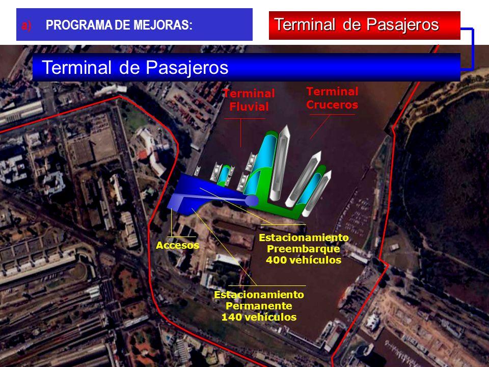 Terminal Cruceros Terminal Fluvial Accesos Estacionamiento Preembarque 400 vehículos Estacionamiento Permanente 140 vehículos Terminal de Pasajeros a)