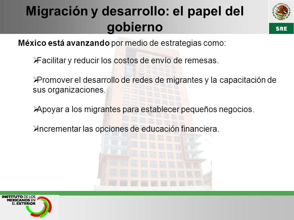 Migración y desarrollo: el papel del gobierno México está avanzando por medio de estrategias como: Facilitar y reducir los costos de envío de remesas.