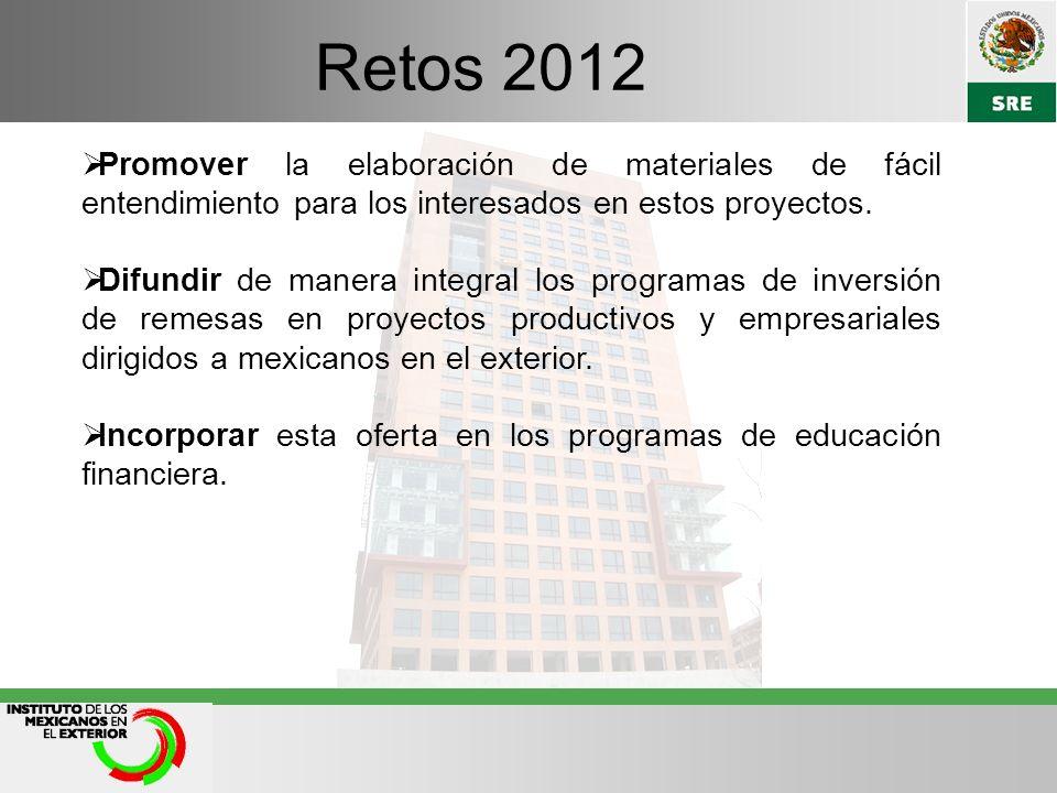 Retos 2012 Promover la elaboración de materiales de fácil entendimiento para los interesados en estos proyectos.