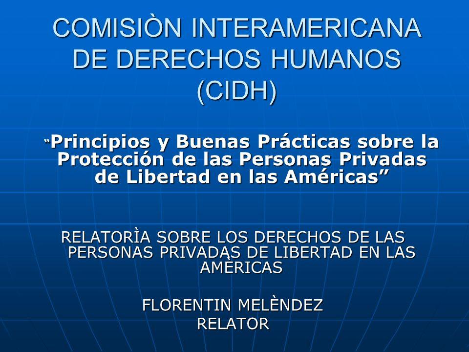 COMISIÒN INTERAMERICANA DE DERECHOS HUMANOS (CIDH) Principios y Buenas Prácticas sobre la Protección de las Personas Privadas de Libertad en las Améri