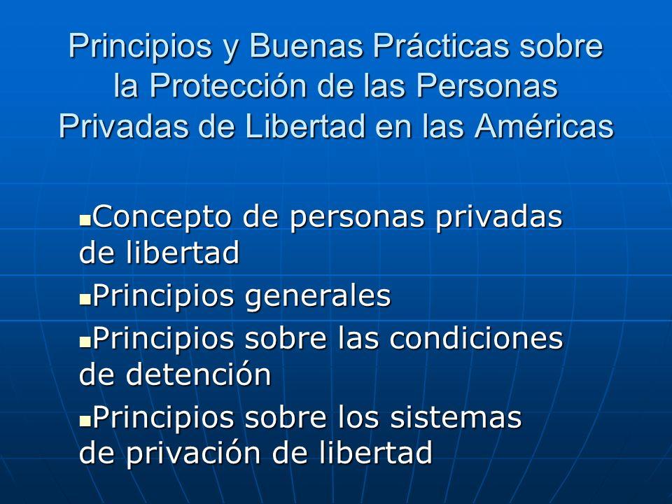 Principios y Buenas Prácticas sobre la Protección de las Personas Privadas de Libertad en las Américas Concepto de personas privadas de libertad Conce