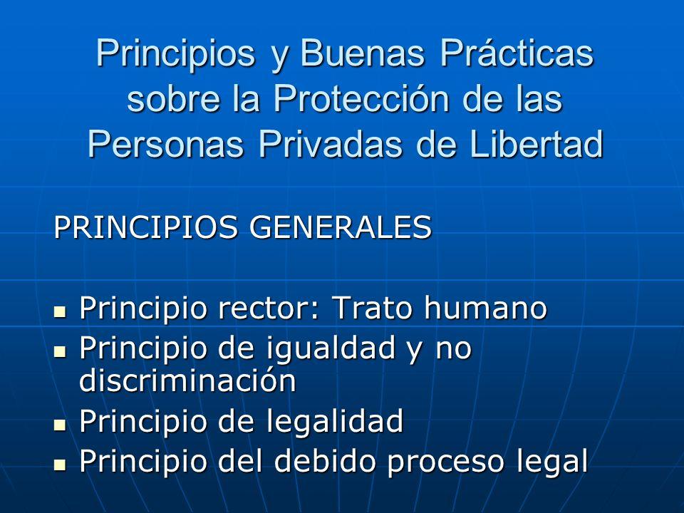 Principios y Buenas Prácticas sobre la Protección de las Personas Privadas de Libertad PRINCIPIOS GENERALES Principio rector: Trato humano Principio r
