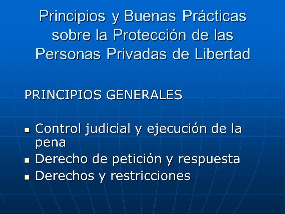Principios y Buenas Prácticas sobre la Protección de las Personas Privadas de Libertad PRINCIPIOS GENERALES Control judicial y ejecución de la pena Co