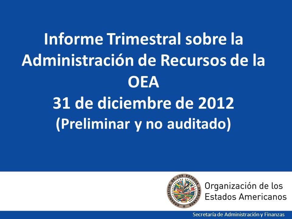1 Informe Trimestral sobre la Administración de Recursos de la OEA 31 de diciembre de 2012 (Preliminar y no auditado) Secretaría de Administración y Finanzas