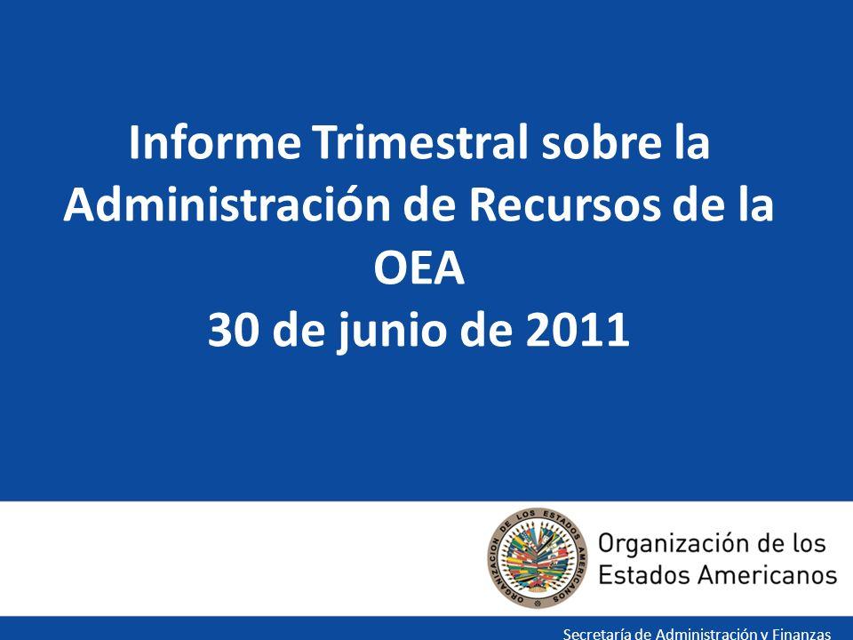 El informe trimestral sobre la administración de recursos de la OEA es presentado en tres secciones: Introducción incluyendo las Preguntas más Frecuentes Sección I - 9 informes específicos en cumplimiento con AG/RES.1(XL-E/10) - Discusión y Análisis a Nivel Gerencial Sección II -Recursos de la SG/OEA por Capítulo Sección III -Estados e Informes Financieros INTRODUCCIÓN