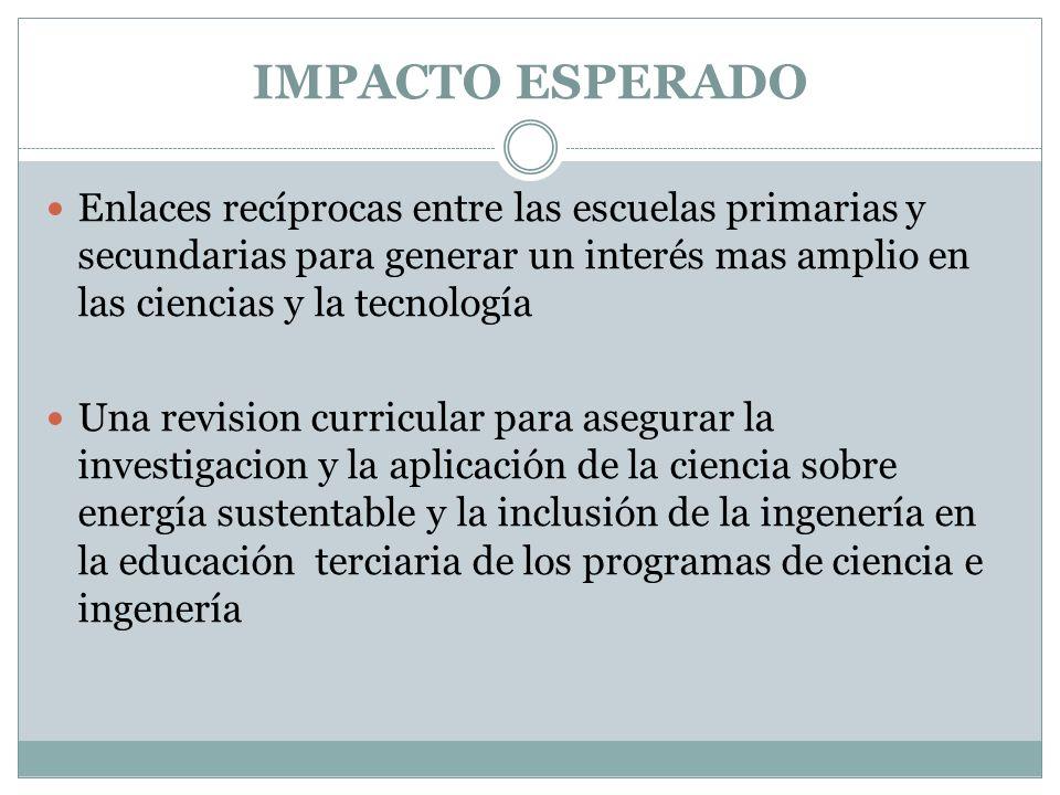 IMPACTO ESPERADO Enlaces recíprocas entre las escuelas primarias y secundarias para generar un interés mas amplio en las ciencias y la tecnología Una