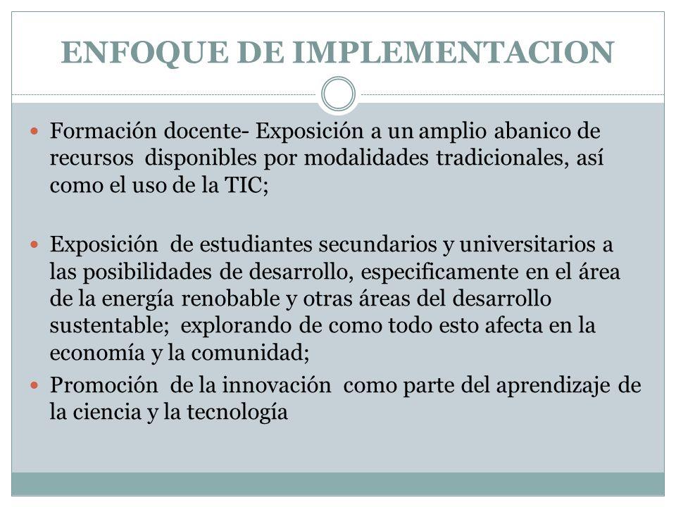 ENFOQUE DE IMPLEMENTACION Formación docente- Exposición a un amplio abanico de recursos disponibles por modalidades tradicionales, así como el uso de