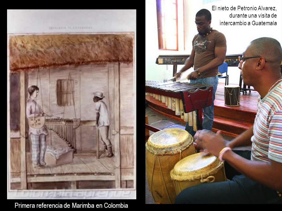 El nieto de Petronio Alvarez, durante una visita de intercambio a Guatemala Primera referencia de Marimba en Colombia