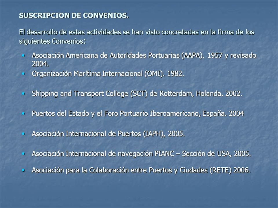 SUSCRIPCION DE CONVENIOS.