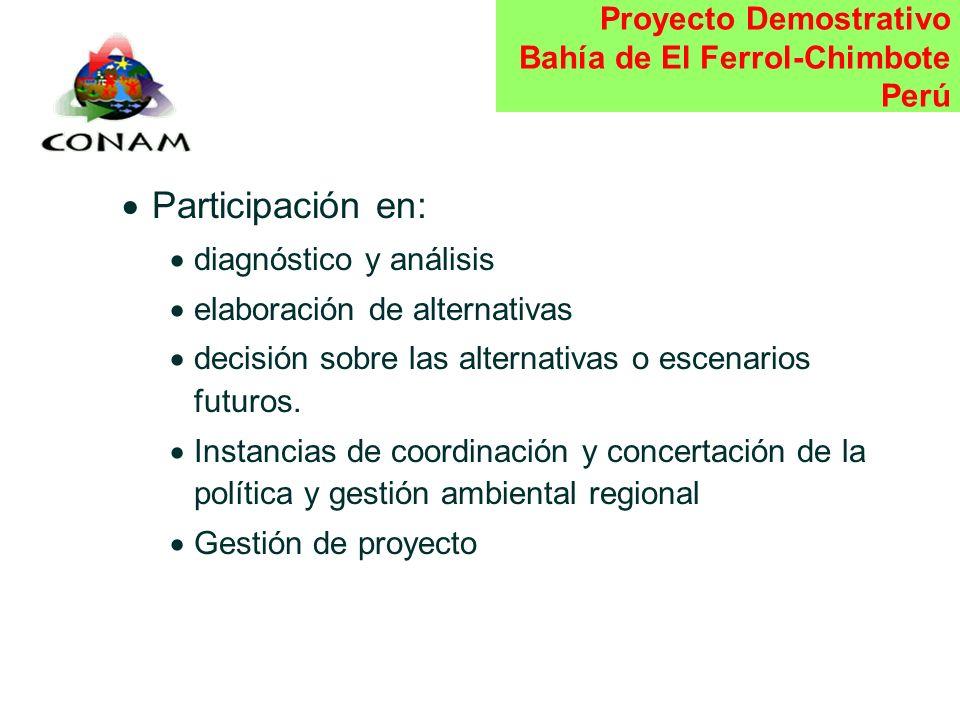 Proyecto Demostrativo Bahía de El Ferrol-Chimbote Perú Convenio OEA - CONAM : 26 de Junio Plazo de ejecución: 8 meses. Actividades: Conformación de Nú