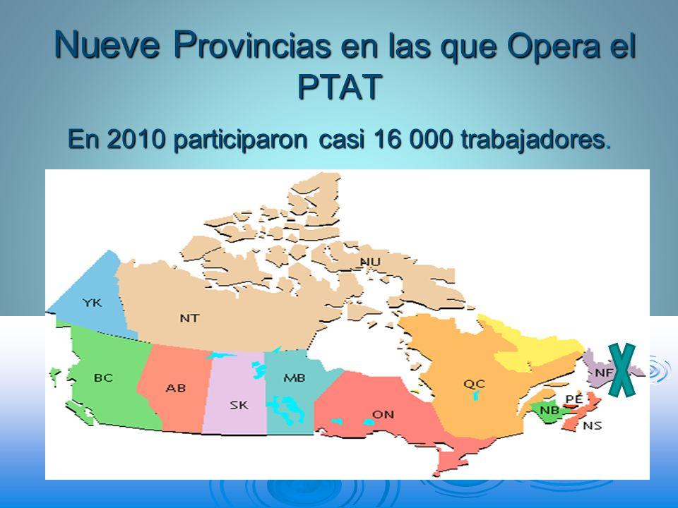 Nueve P rovincias en las que Opera el PTAT Nueve P rovincias en las que Opera el PTAT En 2010 participaron casi 16 000 trabajadores.