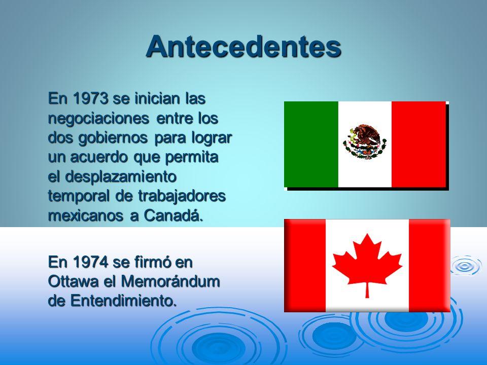 Antecedentes En 1973 se inician las negociaciones entre los dos gobiernos para lograr un acuerdo que permita el desplazamiento temporal de trabajadore