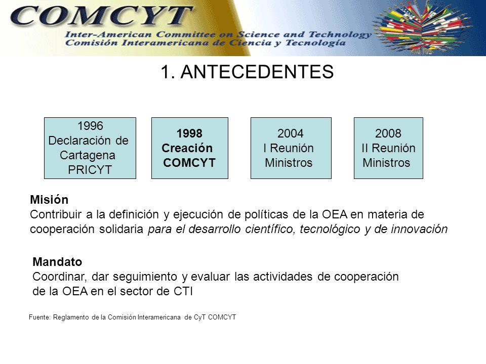 1. ANTECEDENTES 1996 Declaración de Cartagena PRICYT 1998 Creación COMCYT 2004 I Reunión Ministros 2008 II Reunión Ministros Misión Contribuir a la de