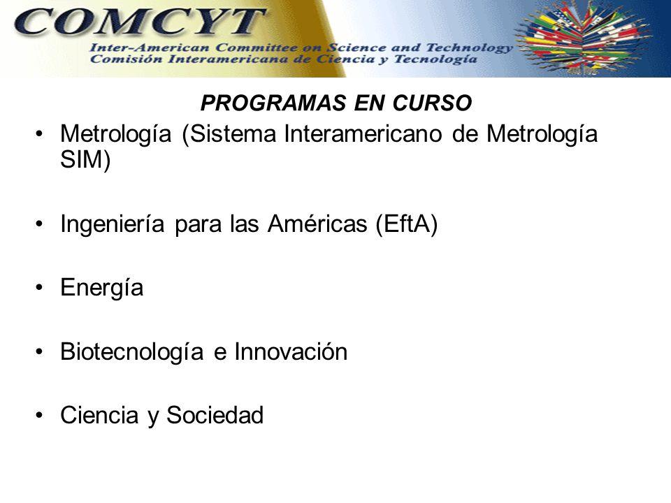 PROGRAMAS EN CURSO Metrología (Sistema Interamericano de Metrología SIM) Ingeniería para las Américas (EftA) Energía Biotecnología e Innovación Ciencia y Sociedad