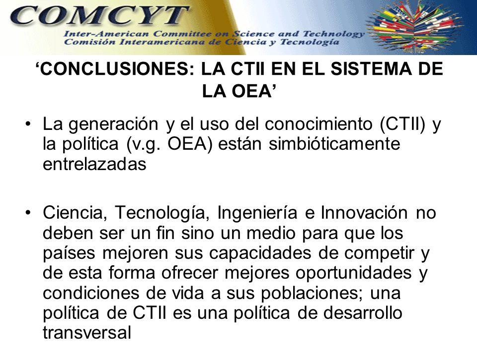 CONCLUSIONES: LA CTII EN EL SISTEMA DE LA OEA La generación y el uso del conocimiento (CTII) y la política (v.g.
