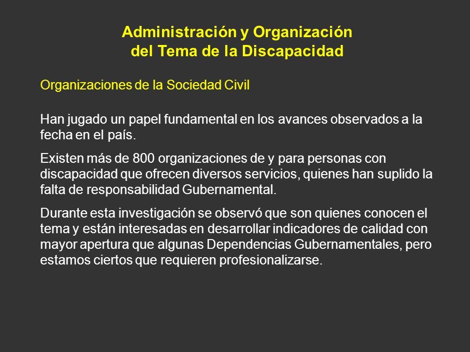 Administración y Organización del Tema de la Discapacidad Organizaciones de la Sociedad Civil Han jugado un papel fundamental en los avances observado