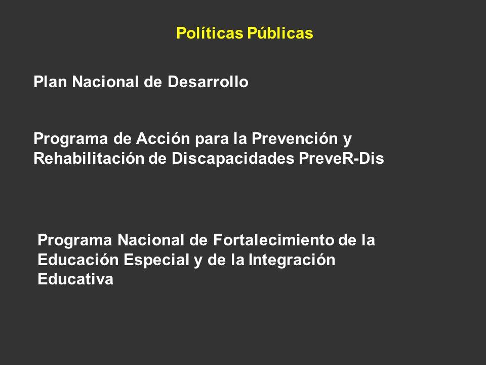 Políticas Públicas Plan Nacional de Desarrollo Programa de Acción para la Prevención y Rehabilitación de Discapacidades PreveR-Dis Programa Nacional d