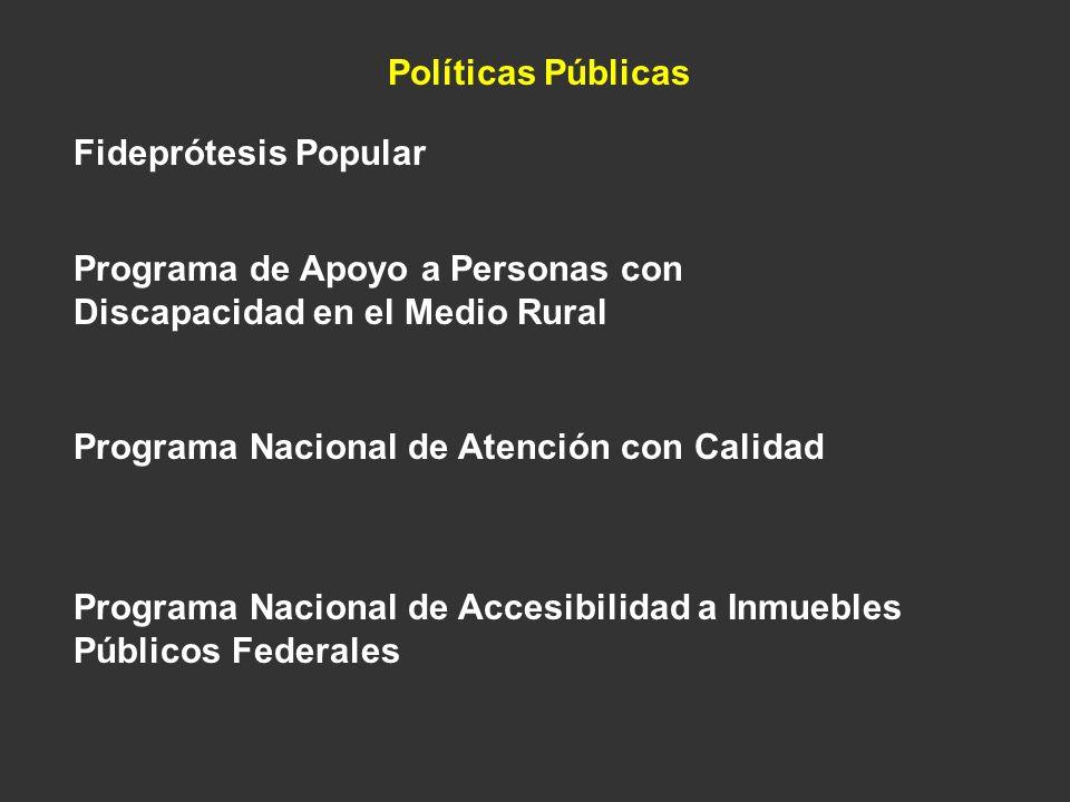 Políticas Públicas Fideprótesis Popular Programa de Apoyo a Personas con Discapacidad en el Medio Rural Programa Nacional de Atención con Calidad Prog