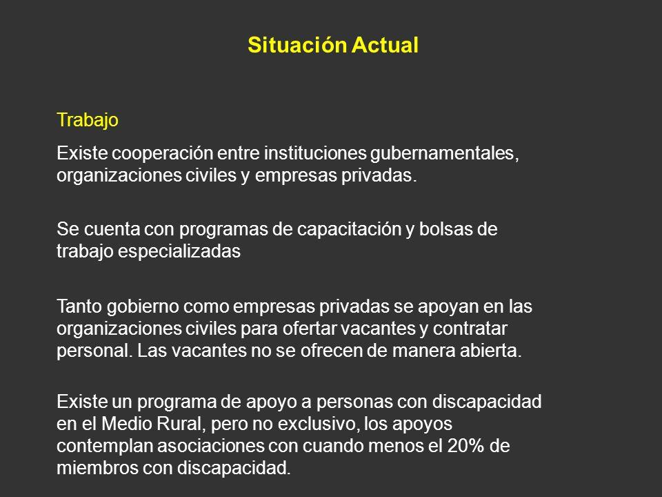 Situación Actual Trabajo Existe cooperación entre instituciones gubernamentales, organizaciones civiles y empresas privadas. Se cuenta con programas d