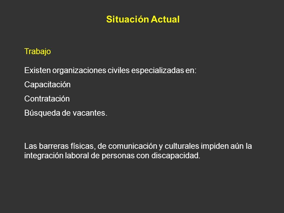 Situación Actual Trabajo Existen organizaciones civiles especializadas en: Capacitación Contratación Búsqueda de vacantes. Las barreras físicas, de co
