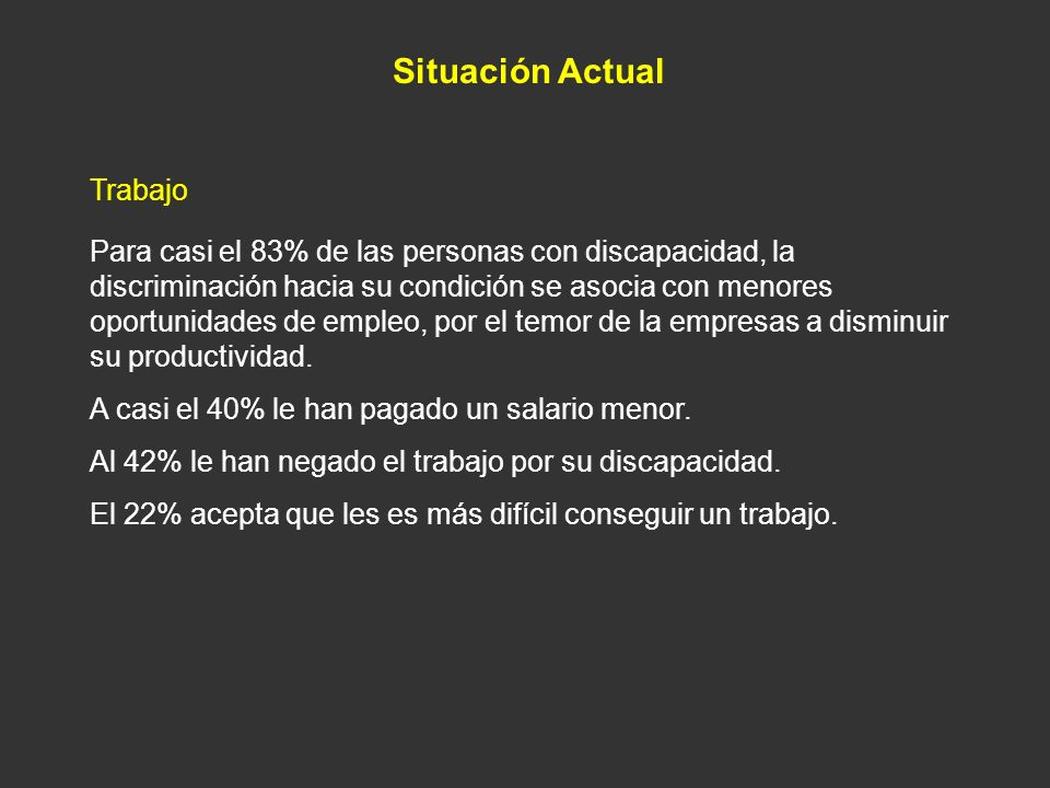 Situación Actual Trabajo Para casi el 83% de las personas con discapacidad, la discriminación hacia su condición se asocia con menores oportunidades d