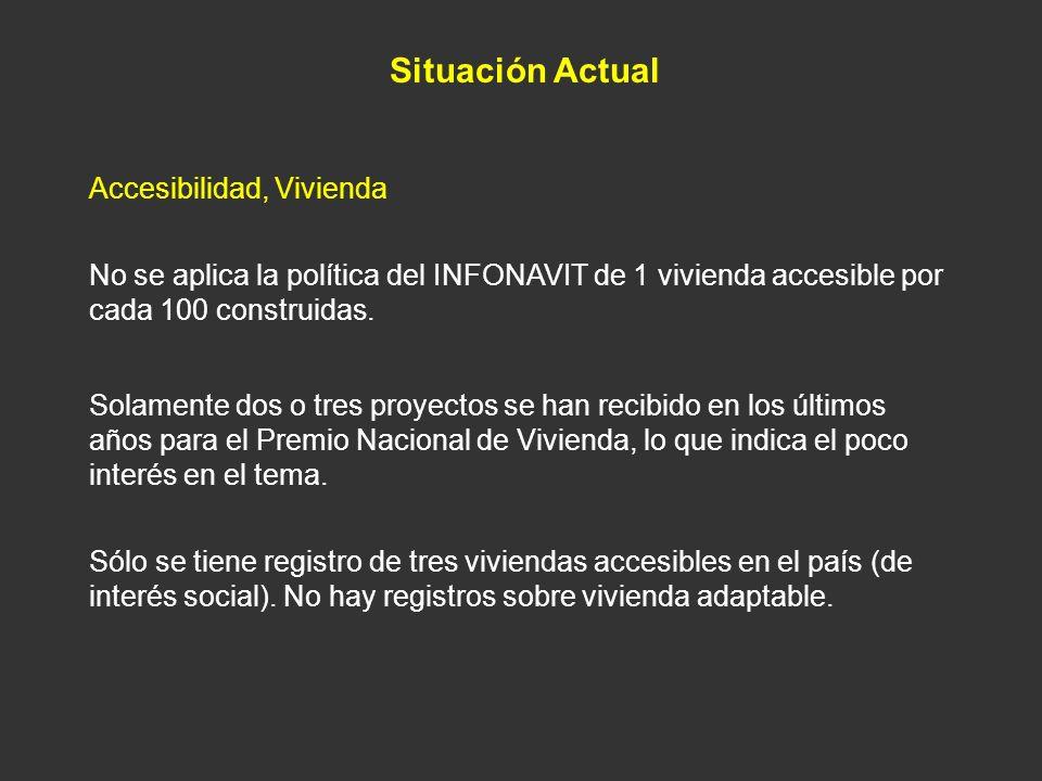 Situación Actual Accesibilidad, Vivienda Sólo se tiene registro de tres viviendas accesibles en el país (de interés social). No hay registros sobre vi
