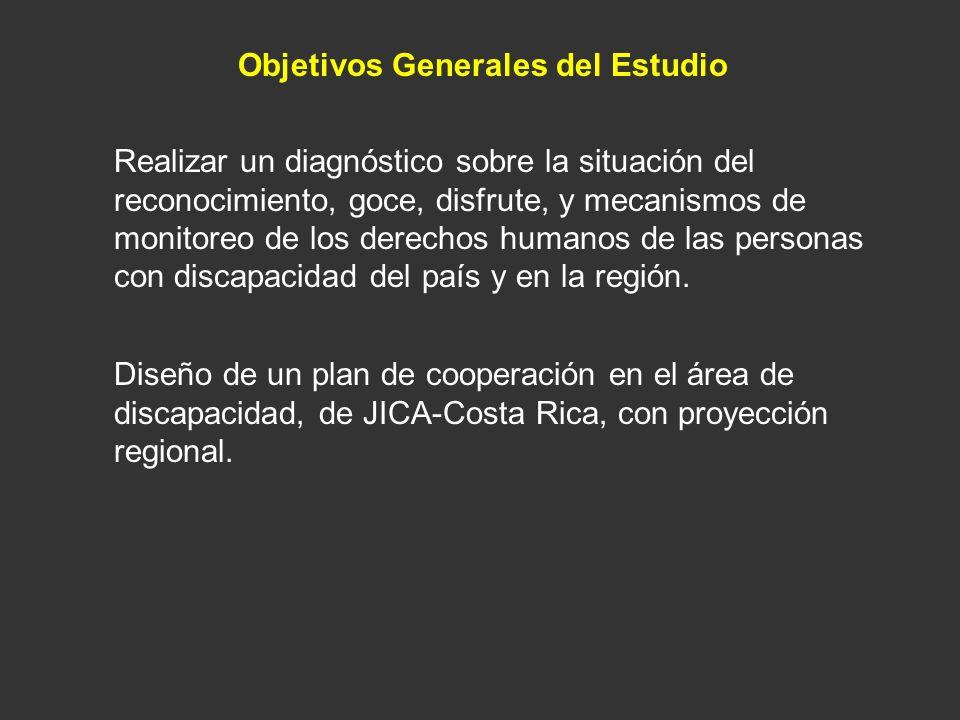 Objetivos Generales del Estudio Realizar un diagnóstico sobre la situación del reconocimiento, goce, disfrute, y mecanismos de monitoreo de los derech