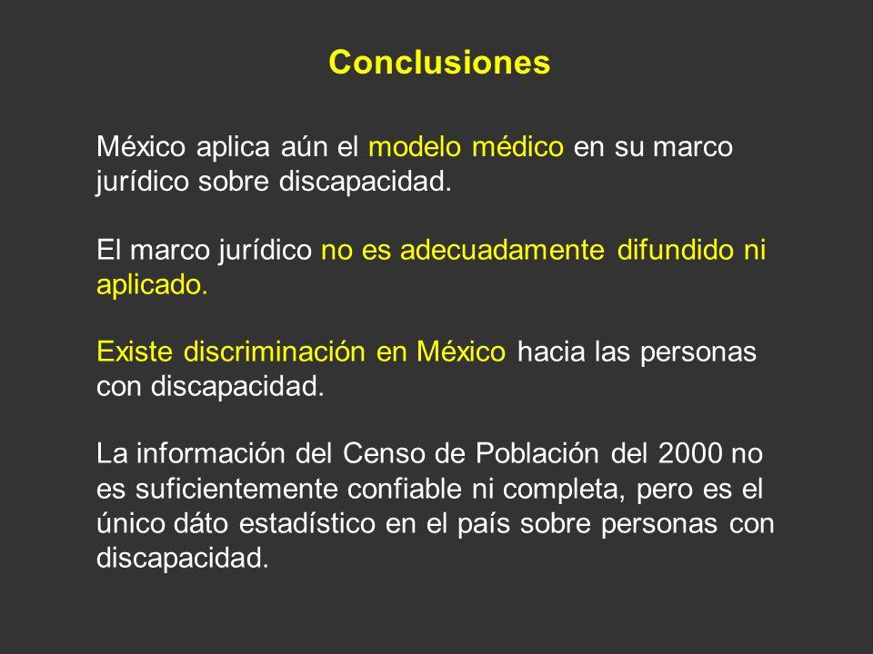 Conclusiones México aplica aún el modelo médico en su marco jurídico sobre discapacidad. El marco jurídico no es adecuadamente difundido ni aplicado.