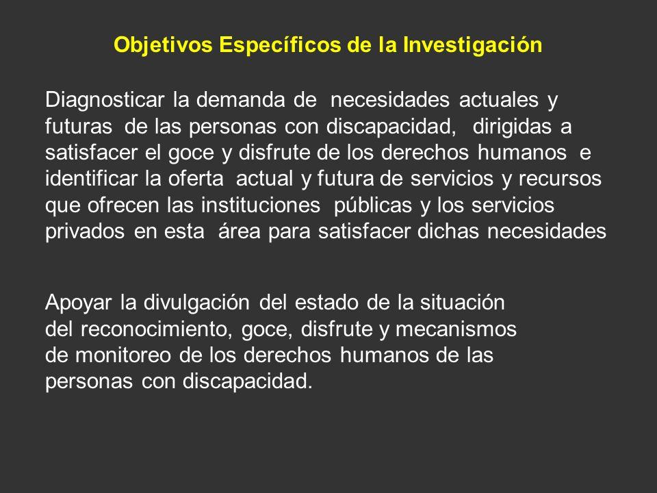 Objetivos Específicos de la Investigación Diagnosticar la demanda de necesidades actuales y futuras de las personas con discapacidad, dirigidas a sati