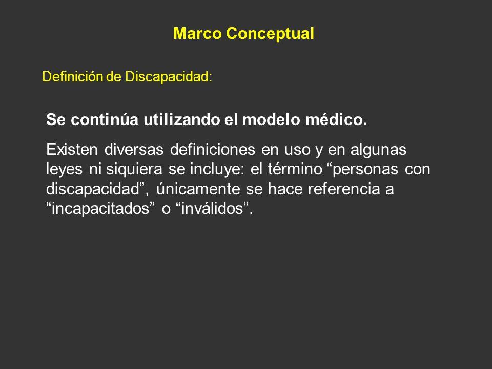 Se continúa utilizando el modelo médico. Existen diversas definiciones en uso y en algunas leyes ni siquiera se incluye: el término personas con disca