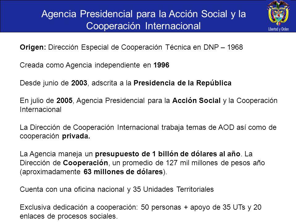Agencia Presidencial para la Acción Social y la Cooperación Internacional Origen: Dirección Especial de Cooperación Técnica en DNP – 1968 Creada como