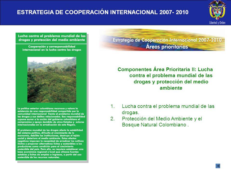 ESTRATEGIA DE COOPERACIÓN INTERNACIONAL 2007- 2010 Componentes Área Prioritaria II: Lucha contra el problema mundial de las drogas y protección del me
