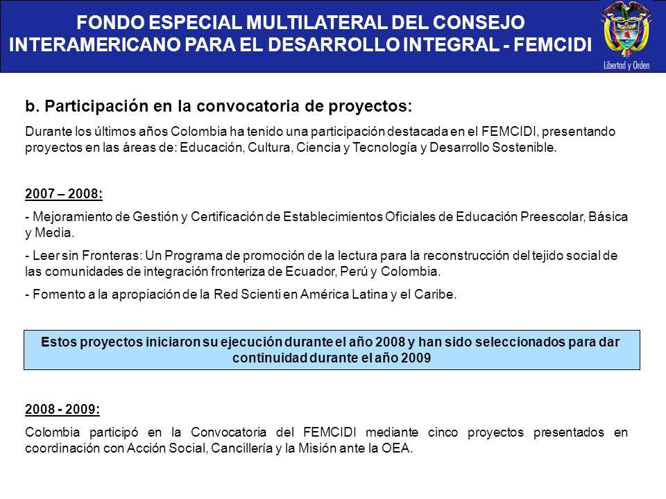 FONDO ESPECIAL MULTILATERAL DEL CONSEJO INTERAMERICANO PARA EL DESARROLLO INTEGRAL - FEMCIDI b. Participación en la convocatoria de proyectos: Durante