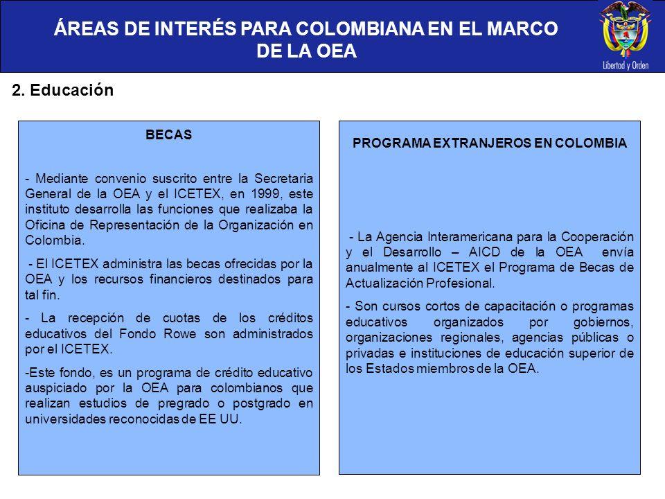 2. Educación BECAS - Mediante convenio suscrito entre la Secretaria General de la OEA y el ICETEX, en 1999, este instituto desarrolla las funciones qu