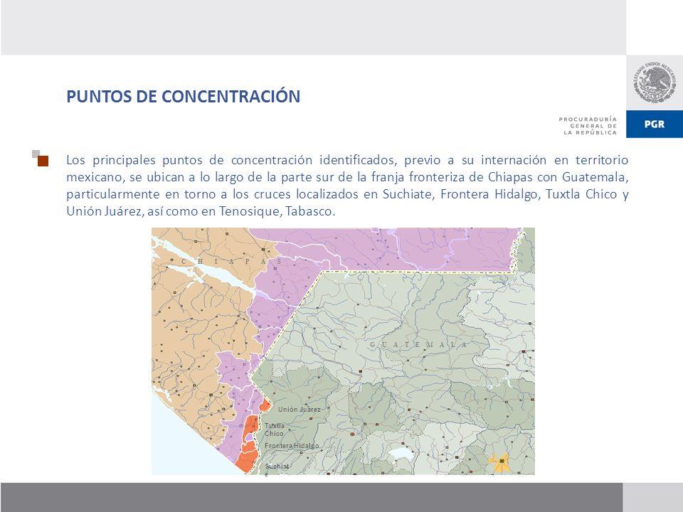PUNTOS DE CONCENTRACIÓN Los principales puntos de concentración identificados, previo a su internación en territorio mexicano, se ubican a lo largo de