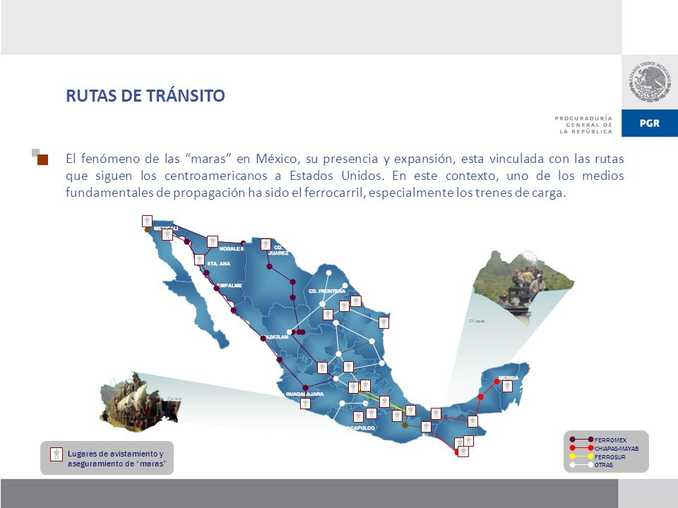 RUTAS DE TRÁNSITO El fenómeno de las maras en México, su presencia y expansión, esta vinculada con las rutas que siguen los centroamericanos a Estados